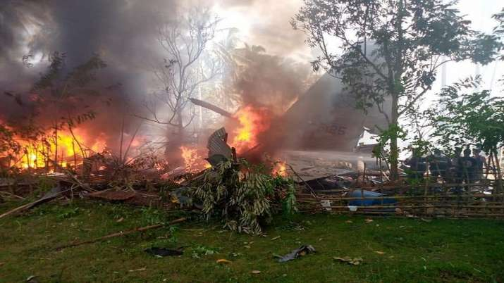 TheC-130 aircraftcrashed after missing the runway.
