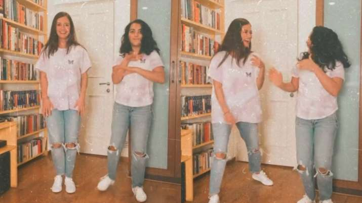 Dia Mirza dances her heart out with her stepdaughter Samaira a few days after announcing the birth of her son Avyaan.  See