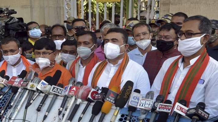 Leader of Opposition Suvendhu Adhikari along with BJP MLAs