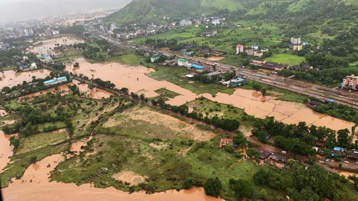 India Tv - A view of the flood hit areas following heavy monsoon rains, in Raigarh district