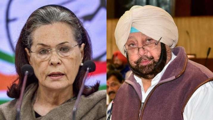 Congress interim president Si=onia Gandhi and Punjab Chief