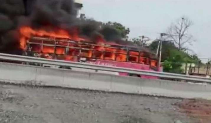 Telangana govt bus catches fire in Jangaon, no injuries