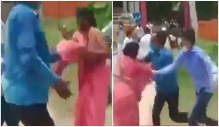 Caught on cam: SP worker's sari yanked by two men in UP,