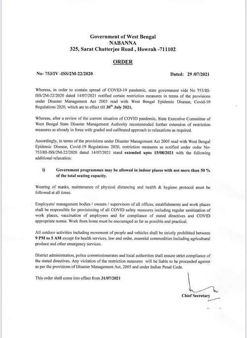 India Tv - West Bengal Covid Restrictions Guidelines