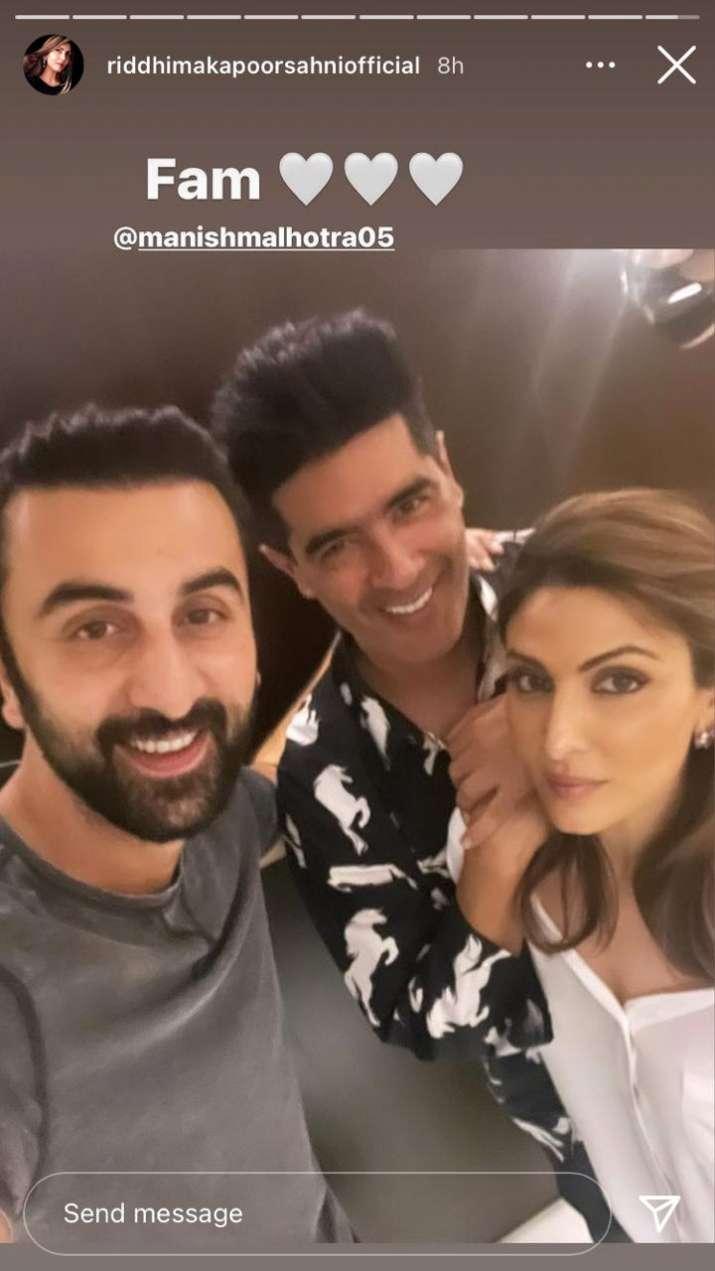 India Tv - Ranbir, Manish Malhotra, Riddhima Kapoor Sahni