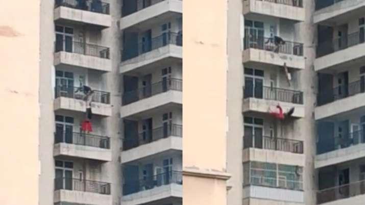 Woman falls from 9th-floor apartment at Crossings Republik