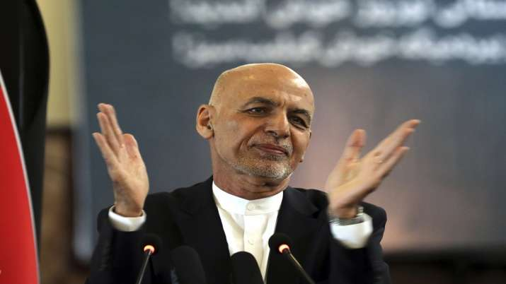 Afghan President Ashraf Ghani speaks during a ceremony