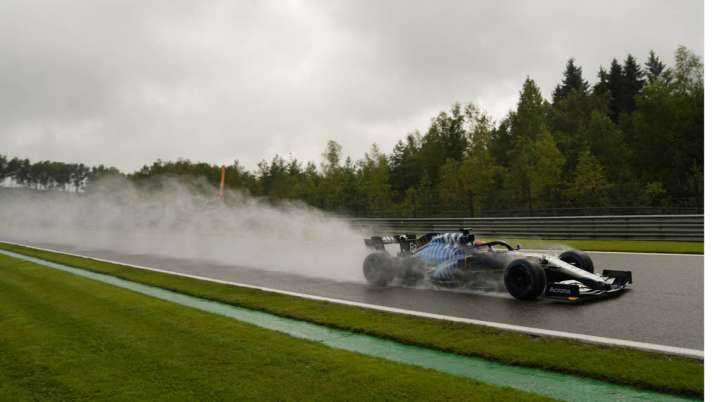 Williams driver George Russell of Britain steers his car
