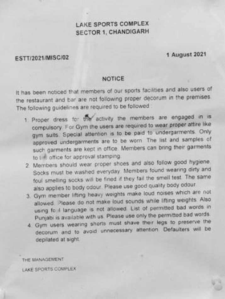 India Tv - Chandigarh Lake Club viral notice