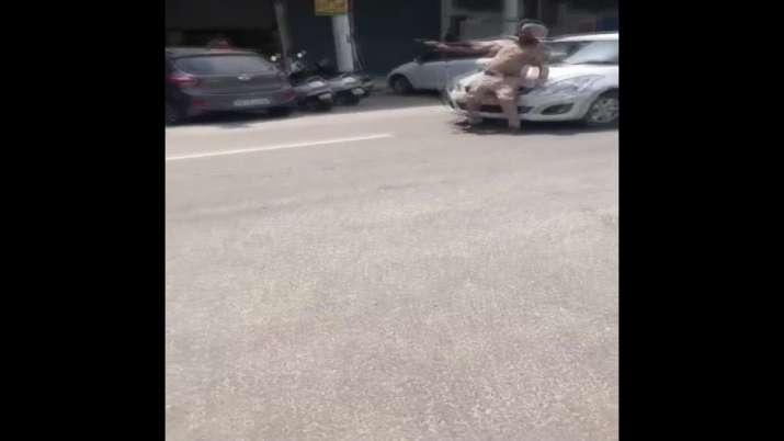 Watch Video: Car evading security check hits cop in Patiala