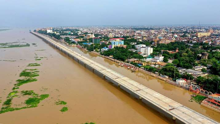 An aerial view of the flooded Collectorate Ghat at the bank