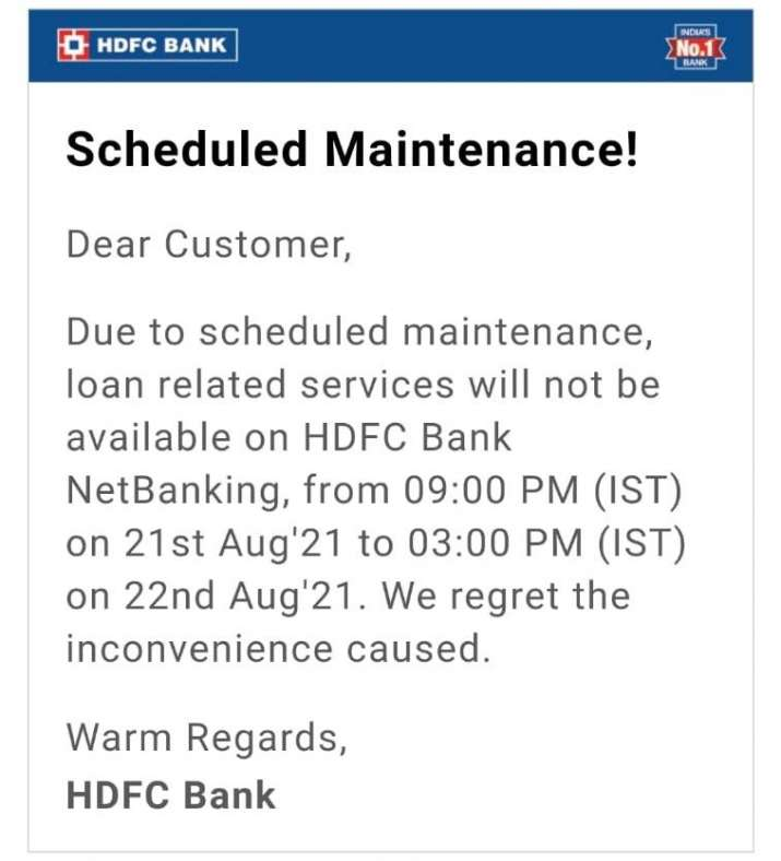 India Tv - HDFC Bank informed about this through an email