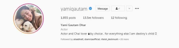 India Tv - Yami Gautam's Instagram profile