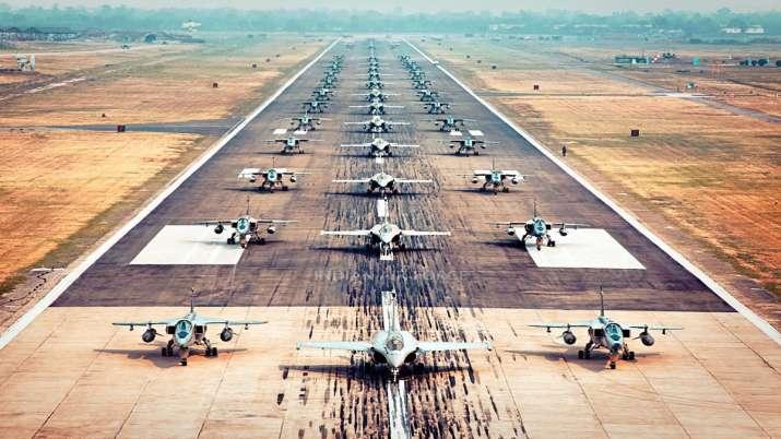 IAF displays 'Elephant Walk' with 75 fighter jets to celebrate Azadi Ka Amrit Mahotsav | Pics