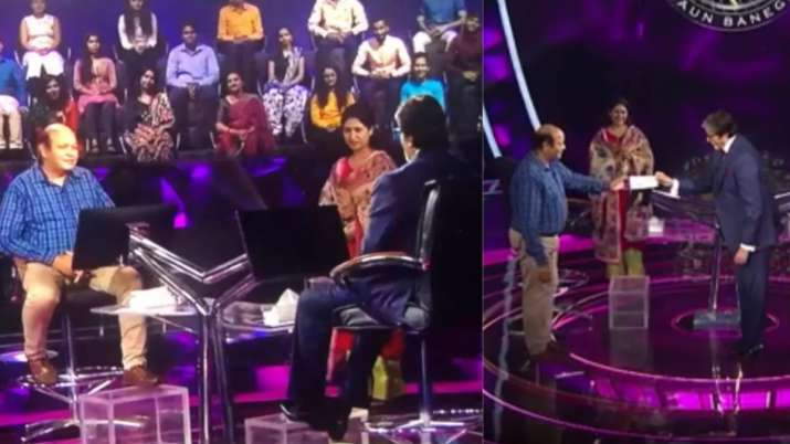 KBC 13: Big B fulfills Neha's father-in-law's dream of sitting on hot seat, gives him winning cheque
