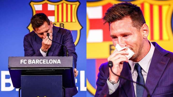 Lionel Messi's break down while announcing Barcelona exit sends football fans in tears