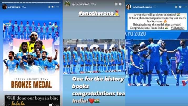 India Tv - Bollywood congratulates Indian Men's Hockey Team for Tokyo Olympic win