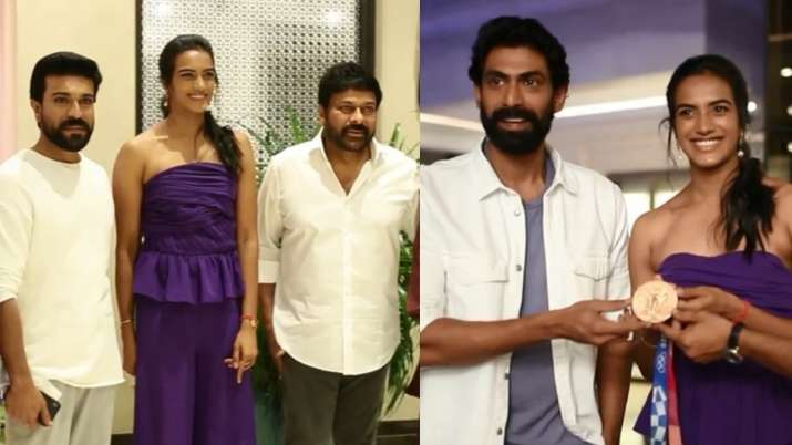 Chiranjeevi, Ram Charan host grand felicitation event for PV Sindhu after her Olympic win; Watch