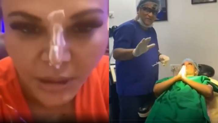 Rakhi Sawant gets nose surgery done after getting hurt by Jasmin Bhasin in Bigg Boss 14. Watch video