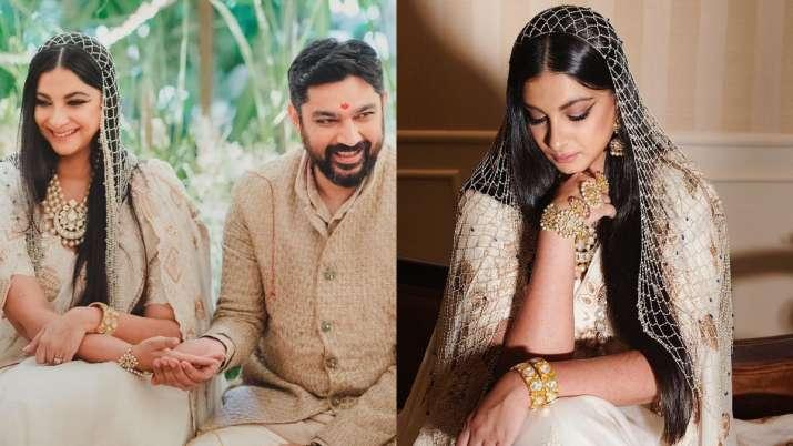 rhea kapoor wedding day look Anamika Khanna off-white chanderi sari with pearl veil