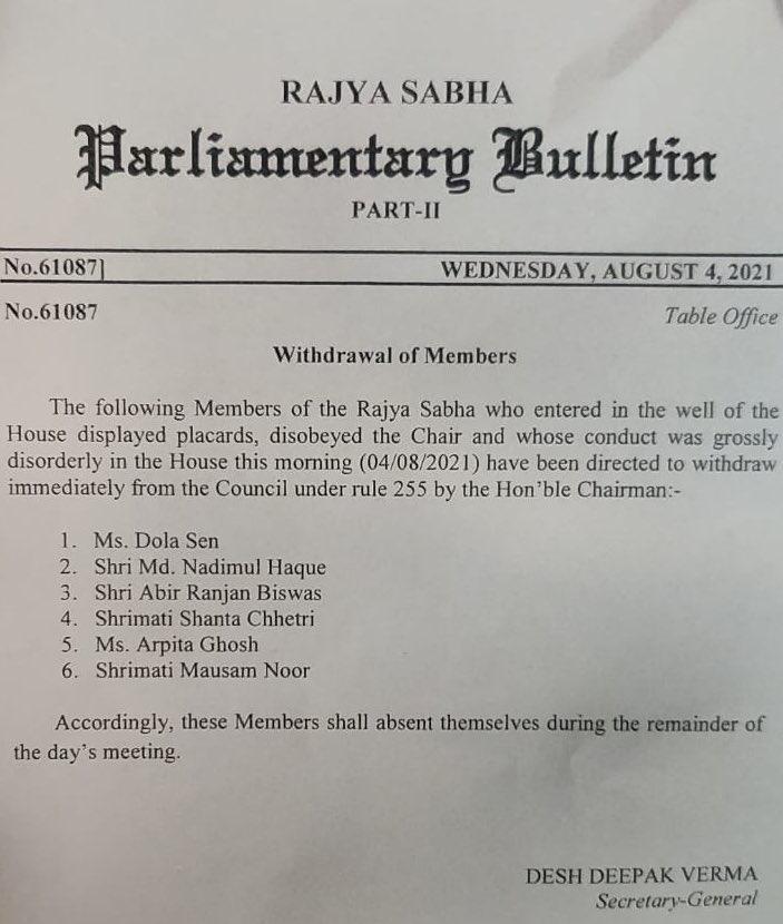 India Tv - 6 TMC MPs suspended from Rajya Sabha