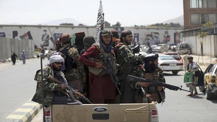 Taliban fighters patrol in Kabul, Afghanistan.