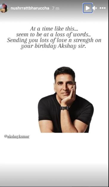 India Tv - Nushrratt Bharucha wishes Akshay Kumar on 54th birthday