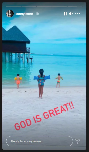 India Tv - Sunny Leone's kids during their Maldives vacation