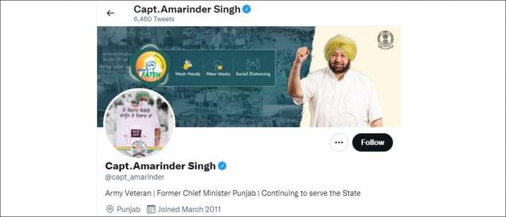 India Tv - Amarinder Singh changes Twitter bio