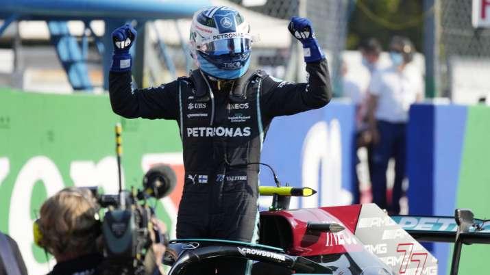 Mercedes driver Valtteri Bottas of Finland celebrates