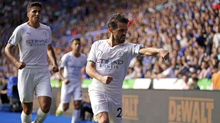 Manchester City's Bernardo Silva celebrates scoring their