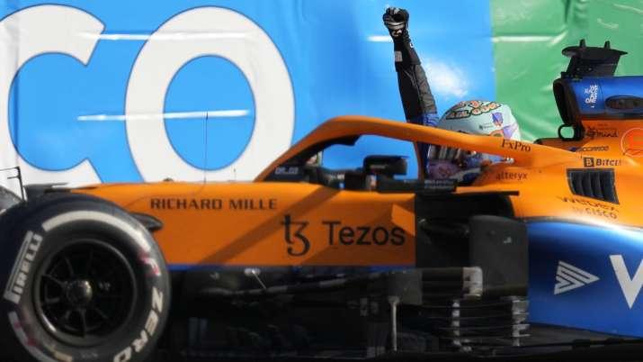 Mclaren driver Daniel Ricciardo of Australia celebrates