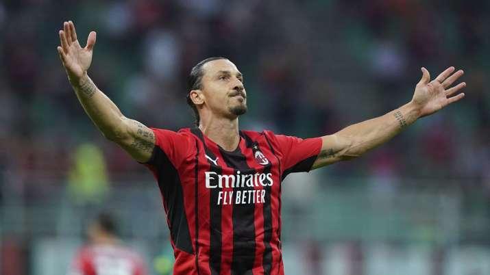 Milan's Zlatan Ibrahimovic celebrates after scoring his