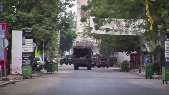 In this image made from video, a military truck is seen