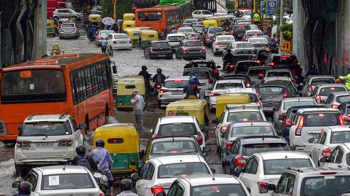Traffic during a rainy day in New Delhi.
