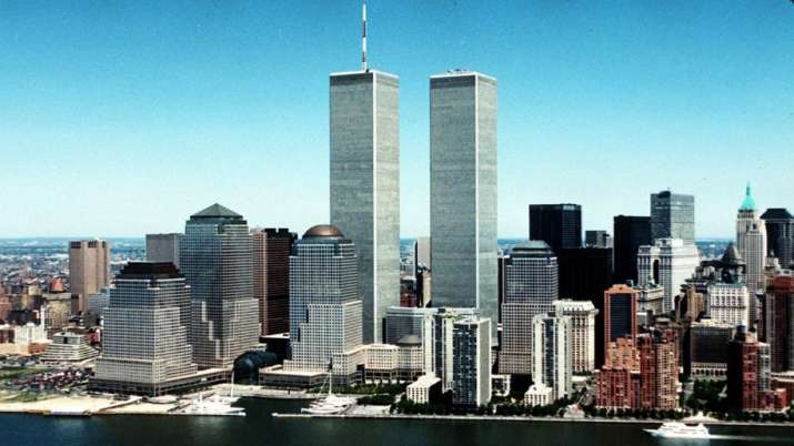 New York City skyline with World Trade Center's twin towers