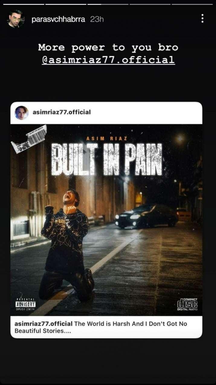 India Tv - Rivals turn friends! Bigg Boss 13's Paras Chhabra shares Asim Riaz's new rap song 'Built In Pain'