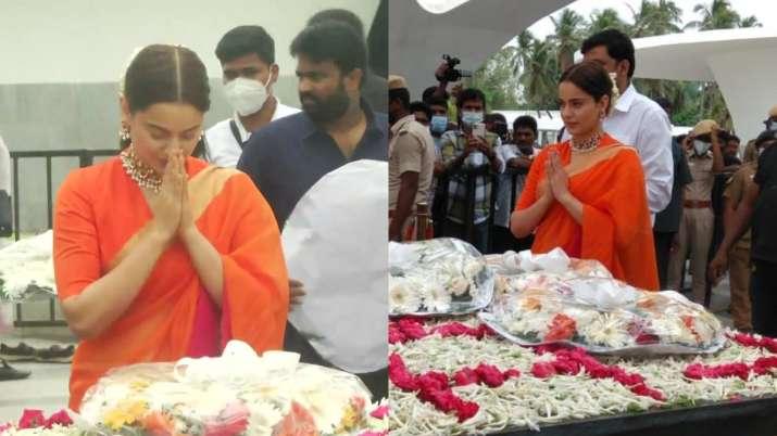 Thalaivii: Kangana Ranaut pays tribute at former CM J Jayalalithaa's memorial ahead of film's release   Celebrities News – India TV