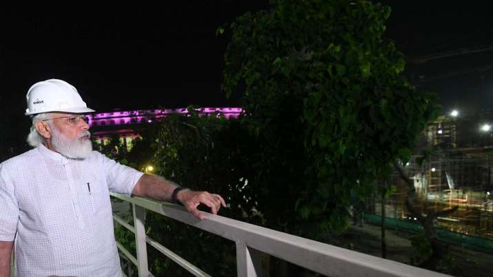 PM Modi at the construction site of new Parliament