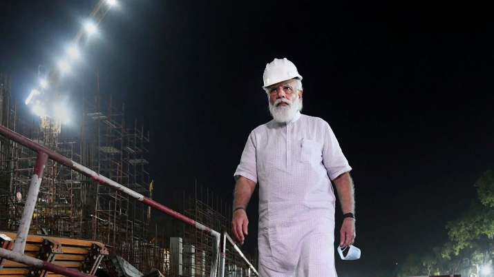 PM Modi during a surprise visit to the construction site of