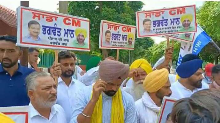 Supporters of Aam Aadmi Party's Punjab President Bhagwant
