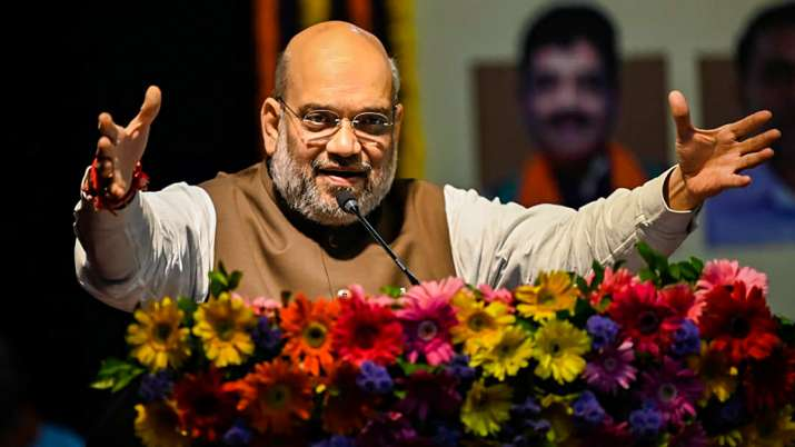 Union Home Minister Amit Shah addresses BJP workers during