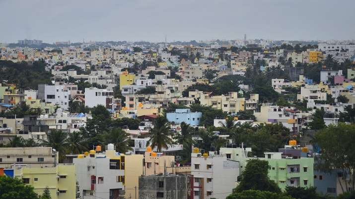 A view of the high rise buildings in Bengaluru, Sunday.