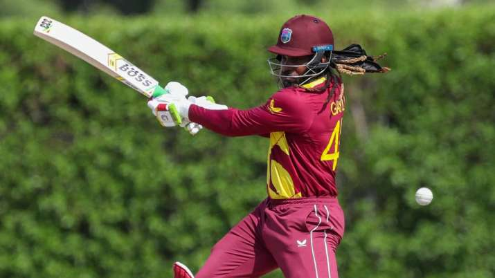 West Indies star batsman Chris Gayle in action during the ongoing T20 World Cup.
