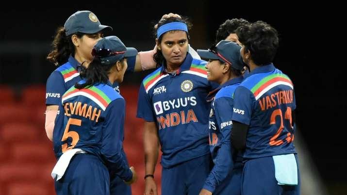 Shikha Pandey of India celebrates the wicket of Alyssa