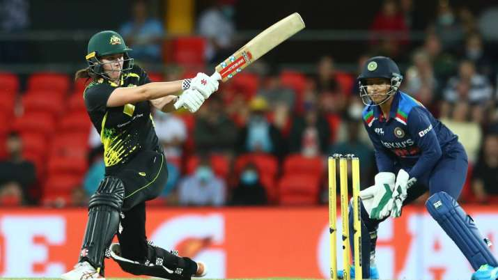 Tahlia McGrath of Australia bats during game two of the