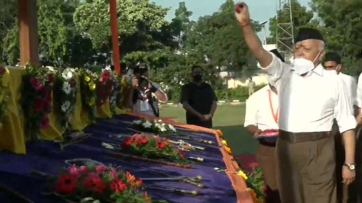 RSS chief Mohan Bhagwat performs 'shastra' puja at Dussehra