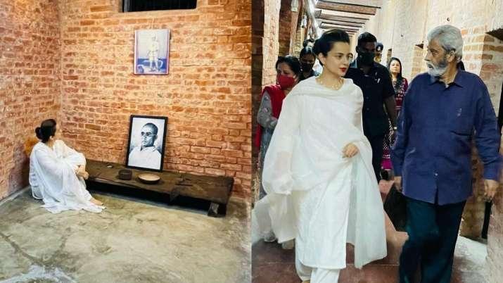 Kangana Ranaut pays gratitude to Veer Savarkar as she visits his cell in Kala Pani during Tejas shoot | PICS