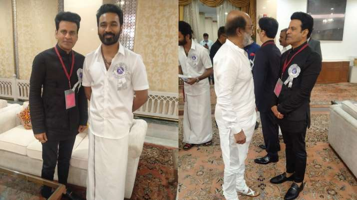 Manoj Bajpayee's moments with 'the greats' Rajinikanth, Dhanush during National Film Awards excite fans