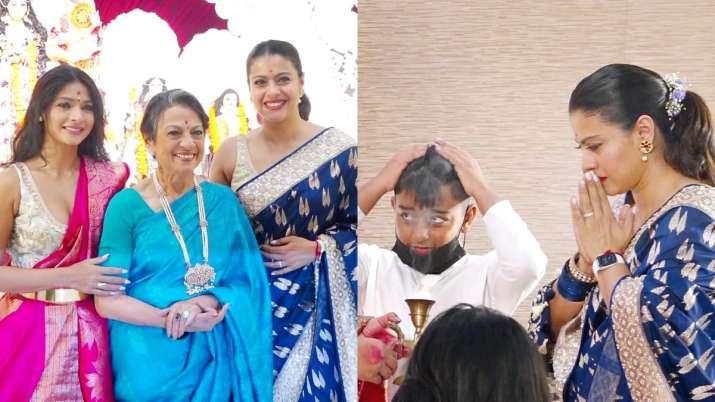 Kajol celebrates Durga Ashtami with mother Tanuja, sister Tanisha and son Yug; see pics